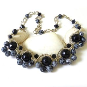 Shop Snowflake Obsidian Jewelry! Onyx and Snowflake Obsidian Necklace – Midnight Dreaming | Natural genuine Snowflake Obsidian jewelry. Buy crystal jewelry, handmade handcrafted artisan jewelry for women.  Unique handmade gift ideas. #jewelry #beadedjewelry #beadedjewelry #gift #shopping #handmadejewelry #fashion #style #product #jewelry #affiliate #ad