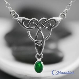 Green Gemstone Necklace – Sterling Silver Celtic Necklace For Women – May Birthstone Jewelry – Green Onyx Necklace – Silver Drop Necklace | Natural genuine Onyx necklaces. Buy crystal jewelry, handmade handcrafted artisan jewelry for women.  Unique handmade gift ideas. #jewelry #beadednecklaces #beadedjewelry #gift #shopping #handmadejewelry #fashion #style #product #necklaces #affiliate #ad