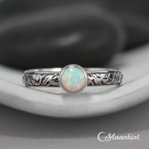 Opal Engagement Ring, Sterling Silver Opal Ring, Floral Ring, October Birthstone Ring, Opal Promise Ring, Dainty Ring | Moonkist Designs
