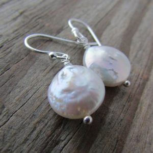 Shop Pearl Earrings! Pearl Earrings, small, coin pearl and silver, simple, dangle earrings | Natural genuine Pearl earrings. Buy crystal jewelry, handmade handcrafted artisan jewelry for women.  Unique handmade gift ideas. #jewelry #beadedearrings #beadedjewelry #gift #shopping #handmadejewelry #fashion #style #product #earrings #affiliate #ad