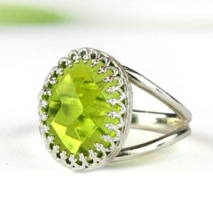Shop Peridot Rings! Peridot ring,silver ring,August birthstone,gemstone ring,green ring,precious ring,energy ring,bridal ring | Natural genuine Peridot rings, simple unique alternative gemstone engagement rings. #rings #jewelry #bridal #wedding #jewelryaccessories #engagementrings #weddingideas #affiliate #ad