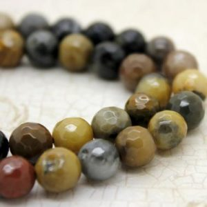 Shop Petrified Wood Beads! Natural Petrified Wood Faceted Round Ball Sphere Loose Gemstone Stone Beads | Natural genuine faceted Petrified Wood beads for beading and jewelry making.  #jewelry #beads #beadedjewelry #diyjewelry #jewelrymaking #beadstore #beading #affiliate #ad