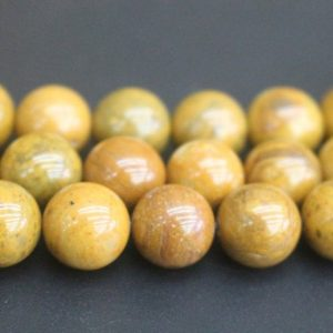 Shop Petrified Wood Beads! 8mm / 10mm Yellow Petrified Wood Jasper Beads, smooth And Round Stone Beads, 15 Inches One Starand | Natural genuine round Petrified Wood beads for beading and jewelry making.  #jewelry #beads #beadedjewelry #diyjewelry #jewelrymaking #beadstore #beading #affiliate #ad