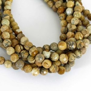 Shop Picture Jasper Faceted Beads! 8mm Picture Jasper Beads, Faceted Round Jasper, Scenic Jasper, Landscape Jasper, 8mm Faceted Round, 7 Inch Strand, Earth Tones, Jas220 | Natural genuine faceted Picture Jasper beads for beading and jewelry making.  #jewelry #beads #beadedjewelry #diyjewelry #jewelrymaking #beadstore #beading #affiliate #ad