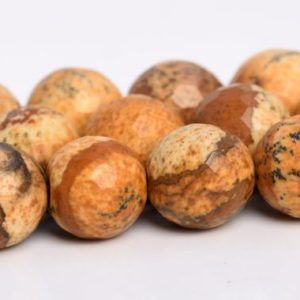 Shop Picture Jasper Faceted Beads! Picture Jasper Beads Grade AAA Genuine Natural Gemstone Micro Faceted Round Loose Beads 6MM 8MM 10MM 12MM Bulk Lot Options | Natural genuine faceted Picture Jasper beads for beading and jewelry making.  #jewelry #beads #beadedjewelry #diyjewelry #jewelrymaking #beadstore #beading #affiliate #ad