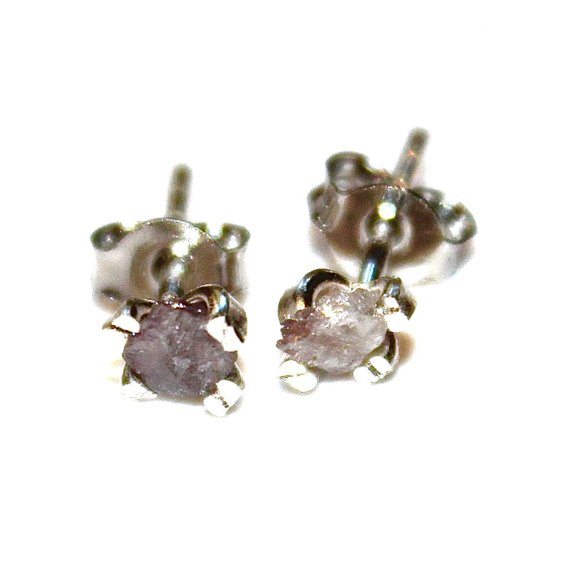 Pink Diamonds Raw Diamond Earrings Rough Diamond Studs Real Diamond Jewelry Tiny Earrings Small Earrings Natural Diamond Modern Jewelry