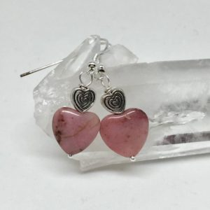 Shop Heart Shaped Earrings! Pink rhodonite silver heart earrings, pink stone earrings, pink heart earrings, heart jewelry | Natural genuine Gemstone earrings. Buy crystal jewelry, handmade handcrafted artisan jewelry for women.  Unique handmade gift ideas. #jewelry #beadedearrings #beadedjewelry #gift #shopping #handmadejewelry #fashion #style #product #earrings #affiliate #ad