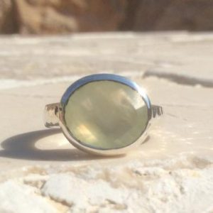 Shop Prehnite Rings! Gemstone Ring, Large Oval Stone Silver Ring, Prehnite Hammered Silver Ring, Gemstone Silver Ring, Gift For Her | Natural genuine Prehnite rings, simple unique handcrafted gemstone rings. #rings #jewelry #shopping #gift #handmade #fashion #style #affiliate #ad