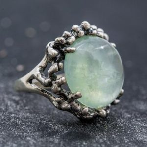 Shop Prehnite Rings! Prehnite Ring, Natural Prehnite, Green Ring, May Birthstone, Statement Ring, May Ring, Vintage Rings, Silver Ring, Unique Ring, Prehnite | Natural genuine Prehnite rings, simple unique handcrafted gemstone rings. #rings #jewelry #shopping #gift #handmade #fashion #style #affiliate #ad