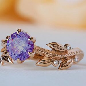Purple Engagement Ring, Purple Wedding Ring, Purple Promise Ring, Solid Gold Amethyst Ring, 18K Amethyst Ring, 14K Amethyst Diamond Ring | Natural genuine Array rings, simple unique alternative gemstone engagement rings. #rings #jewelry #bridal #wedding #jewelryaccessories #engagementrings #weddingideas #affiliate #ad