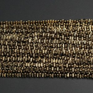 "Shop Pyrite Bead Shapes! Titanium Pyrite 3mm 4mm Triangle Beads 15.5"" Strand 