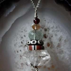 Shop Quartz Crystal Necklaces! Talisman, Talisman Necklace,  Double Terminated Quartz Crystal,  Gemstone Necklace, Energy Necklace, Tribal Necklace, Boho Necklace | Natural genuine Quartz necklaces. Buy crystal jewelry, handmade handcrafted artisan jewelry for women.  Unique handmade gift ideas. #jewelry #beadednecklaces #beadedjewelry #gift #shopping #handmadejewelry #fashion #style #product #necklaces #affiliate #ad