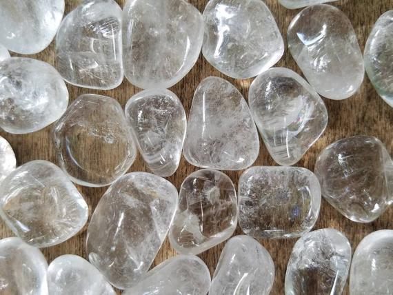 Grade A Clear Quartz, Tumbled Quartz, Crystal, Rainbow, Clear, Natural Stone, Pocket Stone, Palm, Altar, Crystal Grid
