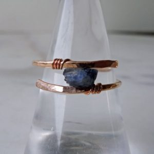 Shop Healing Gemstone Rings! Raw Sapphire ring, solitaire Sapphire, blue Sapphire ring, September birthstone, boho chic ring, modern boho ring, raw ring, modern bohemian | Natural genuine Gemstone rings, simple unique handcrafted gemstone rings. #rings #jewelry #shopping #gift #handmade #fashion #style #affiliate #ad