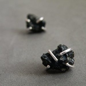 Raw Snowflake Obsidian Earrings Sterling silver Studs Raw Gemstone Jewelry by SteamyLab | Natural genuine Gemstone earrings. Buy crystal jewelry, handmade handcrafted artisan jewelry for women.  Unique handmade gift ideas. #jewelry #beadedearrings #beadedjewelry #gift #shopping #handmadejewelry #fashion #style #product #earrings #affiliate #ad