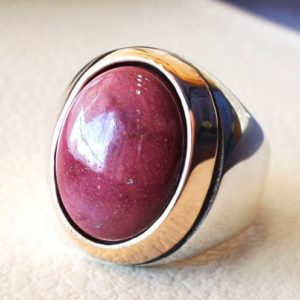 Shop Mookaite Rings! red rose mookaite jasper aqeeq natural stone sterling silver 925 men ring vintage arabic turkish style all sizes on bronze fast shipping | Natural genuine Mookaite rings, simple unique handcrafted gemstone rings. #rings #jewelry #shopping #gift #handmade #fashion #style #affiliate #ad