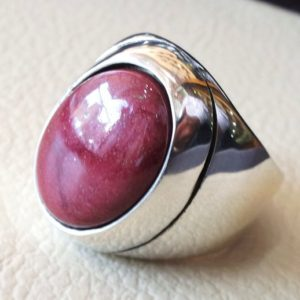 Shop Men's Gemstone Rings! red rose mookaite jasper aqeeq natural stone sterling silver 925 heavy men ring vintage arabic turkish style all sizes fast shipping | Natural genuine Agate rings, simple unique handcrafted gemstone rings. #rings #jewelry #shopping #gift #handmade #fashion #style #affiliate #ad