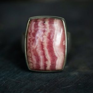 Shop Rhodochrosite Rings! Rhodochrosite Ring 8 – Pink Gemstone Ring Size 8 – Rhodochrosite and Sterling Silver Ring – Rhodochrosite Jewelry – Pink Rhodochrosite Ring | Natural genuine Rhodochrosite rings, simple unique handcrafted gemstone rings. #rings #jewelry #shopping #gift #handmade #fashion #style #affiliate #ad