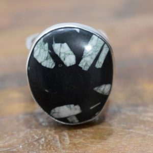 Shop Snowflake Obsidian Rings! Ring Sterling Silver Snowflake Obsidian Ring | Natural genuine Snowflake Obsidian rings, simple unique handcrafted gemstone rings. #rings #jewelry #shopping #gift #handmade #fashion #style #affiliate #ad