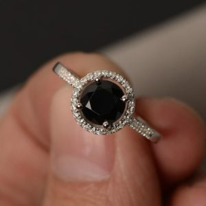 Rings Black Halo Ring Black Spinel Ring Promise Ring for Girl Round Cut Black Rings Engagement Ring Sterling Silver 925 | Natural genuine Spinel rings, simple unique alternative gemstone engagement rings. #rings #jewelry #bridal #wedding #jewelryaccessories #engagementrings #weddingideas #affiliate #ad