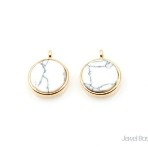 Shop Howlite Pendants! Round Howlite Pendant in Gold – Vertical Loop / 10.0mm x 13.0mm / SWQG114-P2 (2pcs) | Natural genuine Howlite pendants. Buy crystal jewelry, handmade handcrafted artisan jewelry for women.  Unique handmade gift ideas. #jewelry #beadedpendants #beadedjewelry #gift #shopping #handmadejewelry #fashion #style #product #pendants #affiliate #ad