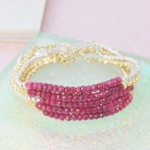 Ruby Bracelet, Bracelet, Friendship Bracelet, Silver Ruby Bracelet, Gold Friendship Bracelet, Silver Gemstone Bracelet, Rose Gold Bracelet | Natural genuine Ruby bracelets. Buy crystal jewelry, handmade handcrafted artisan jewelry for women.  Unique handmade gift ideas. #jewelry #beadedbracelets #beadedjewelry #gift #shopping #handmadejewelry #fashion #style #product #bracelets #affiliate #ad