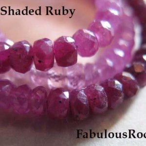 Shop Ruby Faceted Beads! 10-100 pcs / Shaded Ruby Rondelle Bead Gemstone Gems / Luxe AA, 3-3.5 mm / White Pink Red Cranberry, Faceted July Birthstone tr r solo 35 | Natural genuine faceted Ruby beads for beading and jewelry making.  #jewelry #beads #beadedjewelry #diyjewelry #jewelrymaking #beadstore #beading #affiliate #ad