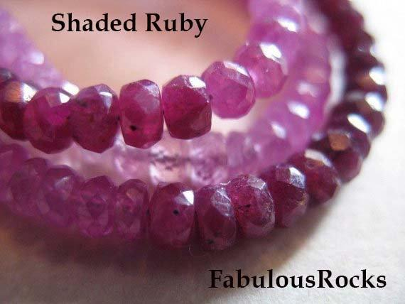 10-100 Pcs / Shaded Ruby Rondelle Bead Gemstone Gems / Luxe Aa, 3-3.5 Mm / White Pink Red Cranberry, Faceted July Birthstone Tr R Solo 35