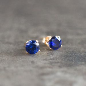 Blue Sapphire CZ Solitaire Stud Earrings in Gold or Silver, Small Earrings, Minimalist Ear Studs Bridesmaids Gifts, Gift for Her | Natural genuine Gemstone earrings. Buy crystal jewelry, handmade handcrafted artisan jewelry for women.  Unique handmade gift ideas. #jewelry #beadedearrings #beadedjewelry #gift #shopping #handmadejewelry #fashion #style #product #earrings #affiliate #ad