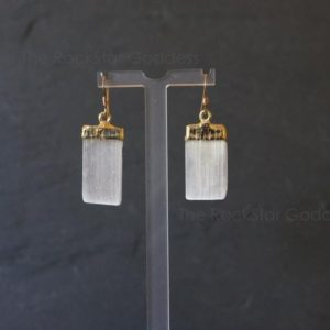 SALE / Selenite Earring / Gold Selenite / Silver Selenite / Selenite Crystal / Peace & Harmony / Selenite | Natural genuine Gemstone jewelry. Buy crystal jewelry, handmade handcrafted artisan jewelry for women.  Unique handmade gift ideas. #jewelry #beadedjewelry #beadedjewelry #gift #shopping #handmadejewelry #fashion #style #product #jewelry #affiliate #ad