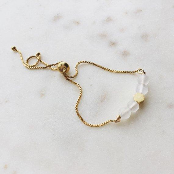 Selenite Gemstone Hex Beads Bracelet, Adjustable Gold Bracelet, Slider Bead Bracelet