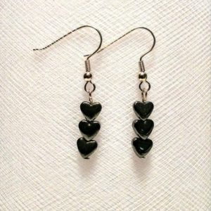 Shop Heart Shaped Earrings! Small hematite stone hearts in a row earrings | Natural genuine Gemstone earrings. Buy crystal jewelry, handmade handcrafted artisan jewelry for women.  Unique handmade gift ideas. #jewelry #beadedearrings #beadedjewelry #gift #shopping #handmadejewelry #fashion #style #product #earrings #affiliate #ad