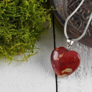 Shop Mookaite Necklaces! MOOKAITE JASPER Healing Crystal Heart Pendant – Bridesmaid Gift, Raw Stone Jewelry, Pendant Necklace, Wedding Gift E0741 | Natural genuine Mookaite necklaces. Buy handcrafted artisan wedding jewelry.  Unique handmade bridal jewelry gift ideas. #jewelry #beadednecklaces #gift #crystaljewelry #shopping #handmadejewelry #wedding #bridal #necklaces #affiliate #ad