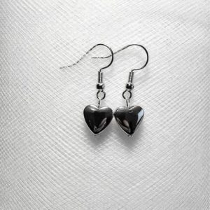 Shop Heart Shaped Earrings! Heart Small shiny silver hematite stone bead earrings tiny lightweight little simple trendy short pretty love friendship unisex grey gray | Natural genuine Gemstone earrings. Buy crystal jewelry, handmade handcrafted artisan jewelry for women.  Unique handmade gift ideas. #jewelry #beadedearrings #beadedjewelry #gift #shopping #handmadejewelry #fashion #style #product #earrings #affiliate #ad