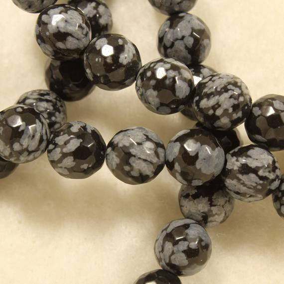 8mm Snowflake Obsidian Polished Round Faceted Natural Gemstone Jewelry Making Individual And Strand Craft Beads - 0329