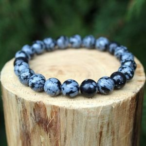 Shop Snowflake Obsidian Jewelry! Snowflake Obsidian Bracelet, Snowflake Obsidian, Obsidian Bracelet, Beaded Bracelet, Gemstone Bracelet, Men's/Women's Bracelet, 8mm Bracelet | Natural genuine Snowflake Obsidian jewelry. Buy crystal jewelry, handmade handcrafted artisan jewelry for women.  Unique handmade gift ideas. #jewelry #beadedjewelry #beadedjewelry #gift #shopping #handmadejewelry #fashion #style #product #jewelry #affiliate #ad