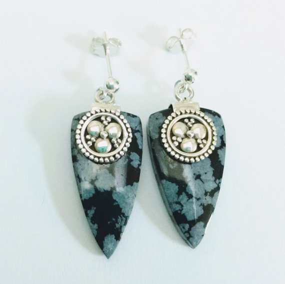 Snowflake Obsidian Earrings With Sterling Silver, 925 Silver Clover And Gemstone Post Earrings, Black Gemstone Jewelry, Statement Earrings