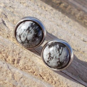 Snowflake obsidian earrings,gemstone stud earrings,crystal stud earrings,boho earrings,fashion stud earrings,rocks,gems,stones,minerals | Natural genuine Snowflake Obsidian earrings. Buy crystal jewelry, handmade handcrafted artisan jewelry for women.  Unique handmade gift ideas. #jewelry #beadedearrings #beadedjewelry #gift #shopping #handmadejewelry #fashion #style #product #earrings #affiliate #ad