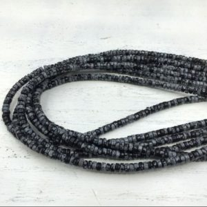 "Shop Snowflake Obsidian Rondelle Beads! Black Snowflake Obsidian Heishi Beads Rondelle Beads Tyre Spacer Beads 4x2mm Gemstone Rondelles Beading Jewelry Supplies 15.5""/Full Strand 