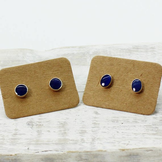 Blue Sodalite Stone Tiny Stud Earrings Made Of Natural Sodalite Stones And 925e Silver Handmade Royal Marine Blue Stone From South America
