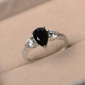 Shop Spinel Jewelry! Natural black spinel ring, promise ring, pear cut spinel, gemstone ring, sterling silver ring | Natural genuine Spinel jewelry. Buy crystal jewelry, handmade handcrafted artisan jewelry for women.  Unique handmade gift ideas. #jewelry #beadedjewelry #beadedjewelry #gift #shopping #handmadejewelry #fashion #style #product #jewelry #affiliate #ad