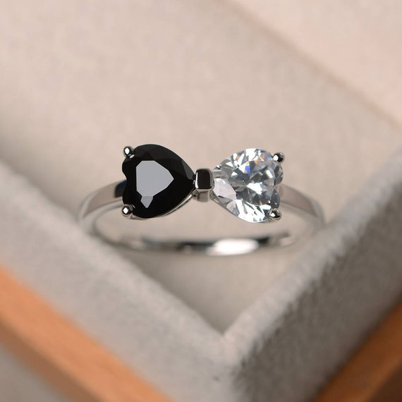 Natural Black Spinel Ring, Wedding Ring, Cubic Zirconia Ring , Heart Cut Gemstone,  Sterling Silver Ring