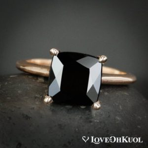Shop Black Tourmaline Rings! Square Cut Black Tourmaline Ring – Prong Set Black Tourmaline Ring – Choose Your Setting | Natural genuine Black Tourmaline rings, simple unique handcrafted gemstone rings. #rings #jewelry #shopping #gift #handmade #fashion #style #affiliate #ad