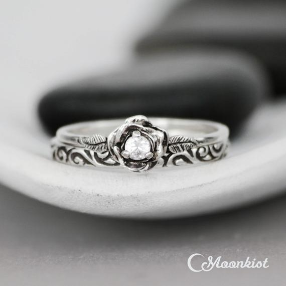 Stacking Ring Wedding Ring Set, Sterling Silver White Sapphire Engagement Ring Set With Swirl Band, Floral Bridal Set, Diamond Alternative