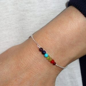 Shop Chakra Bracelets! Sterling silver chakra bracelet, Chakra bracelet, Silver chakra bracelet,  Meditation jewelry, Gifts | Shop jewelry making and beading supplies, tools & findings for DIY jewelry making and crafts. #jewelrymaking #diyjewelry #jewelrycrafts #jewelrysupplies #beading #affiliate #ad