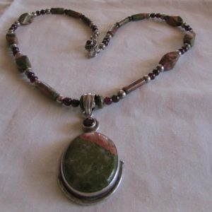 Shop Unakite Necklaces! Sterling Silver Garnet and Unakite Necklace | Natural genuine Unakite necklaces. Buy crystal jewelry, handmade handcrafted artisan jewelry for women.  Unique handmade gift ideas. #jewelry #beadednecklaces #beadedjewelry #gift #shopping #handmadejewelry #fashion #style #product #necklaces #affiliate #ad