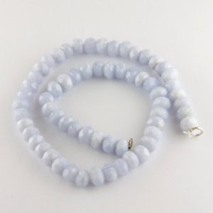 Shop Blue Lace Agate Beads! Strand of 7mm Faceted Blue Lace Agate Rondelle Beads, Full Drilled Beads | Natural genuine rondelle Blue Lace Agate beads for beading and jewelry making.  #jewelry #beads #beadedjewelry #diyjewelry #jewelrymaking #beadstore #beading #affiliate #ad