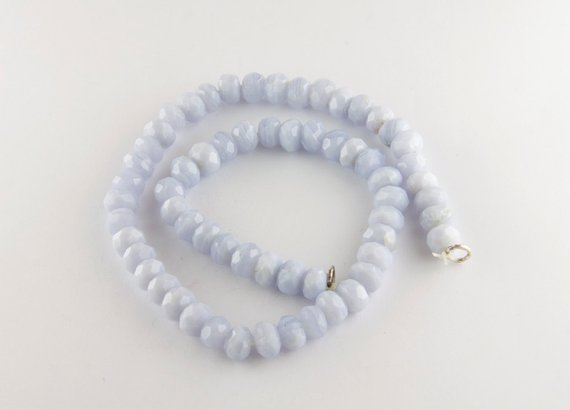 Strand Of Faceted Blue Lace Agate Rondelle Beads, 7mm