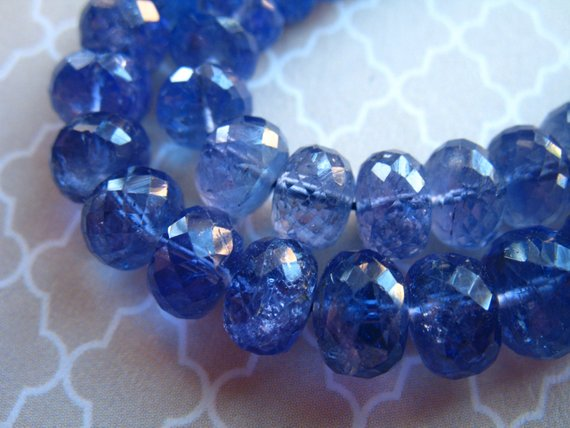 5-100 Pcs, Tanzanite Rondelles Beads Gemstone Rondelle / Luxe Aaaa, 5-6 Mm, Faceted, Periwinkle Blue / December Birthstone Brides Bridal 56