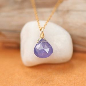 Tanzanite Necklace – Drop Necklace – Crystal Necklace – Purple Necklace – Tiny Necklace – Floating Necklace | Natural genuine Array jewelry. Buy crystal jewelry, handmade handcrafted artisan jewelry for women.  Unique handmade gift ideas. #jewelry #beadedjewelry #beadedjewelry #gift #shopping #handmadejewelry #fashion #style #product #jewelry #affiliate #ad